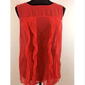 bebe Red Sheer Sleeveless Silk Top Sz S